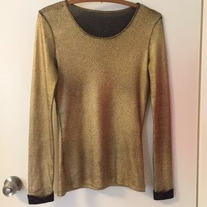 Tops - Black and gold mesh top
